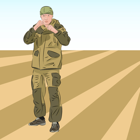 Angry Caucasian Soldier In Camouflage Uniform in fighting stance. Realistic vector illustration