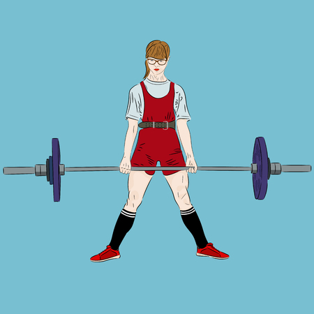 Powerlifting. Deadlift. Girl athlete lifting barbell at competition. Realistic vector illustration
