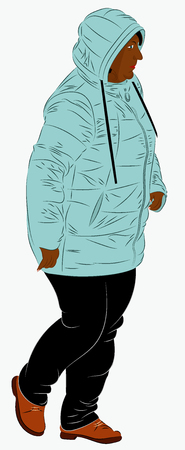 An African American female dressed in winter clothes. A woman in a synthetic hooded winter jacket is walking. Realistic vector illustration Illustration