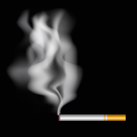 Realistic burning cigarette with smoke. Vector illustration on black background