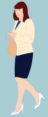 Fashionable city woman holding a handbag in her arm. Realistic vector illustration
