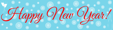 Happy New Year congratulation banner. Champagne, glasses and snowfall. Vector illustration Illustration