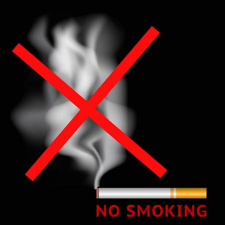 Rook geen teken. Brandende sigaret en rood niet roken gebied label symbool. Vector illustratie Stock Illustratie