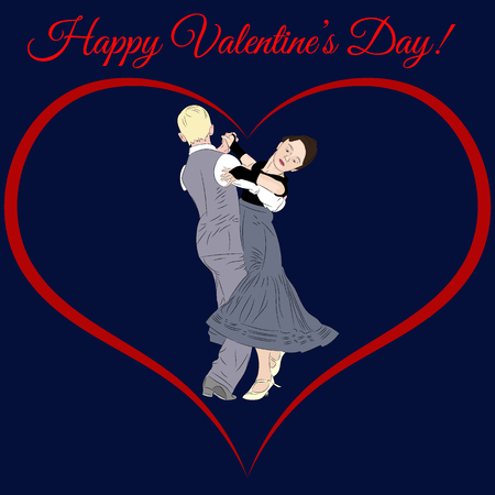 Valentines day illustration. A heart and a beautiful dancing couple. Realistic vector