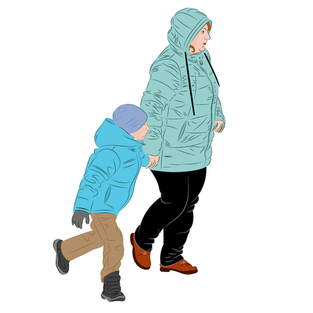 A mother is walking by the hand with the child. Realistic vector illustration