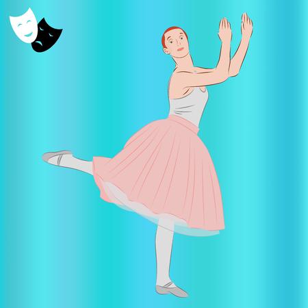 Ballerina. Ballet dancer and theatrical masks. Dance girl in classical tutu. Realistic vector illustration. Stock Illustratie