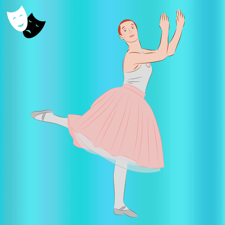 Ballerina. Ballet dancer and theatrical masks. Dance girl in classical tutu. Realistic vector illustration. Illustration
