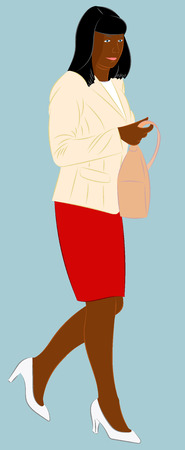 Afro American fashionable woman holding a handbag in her arm. Realistic vector illustration Illusztráció