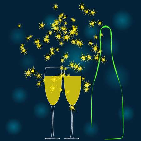 A champagne bottle and two glass of wine. Vector illustration