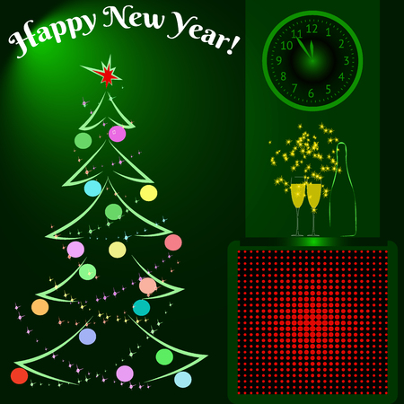 Happy New Year. A bottle and wineglasses of champagne on mantelpiece. Clock that shows at five minutes to twelve. Vector Illustration