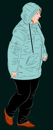 Female dressed in winter clothes. A woman in a synthetic hooded winter jacket is walking. Realistic vector illustration