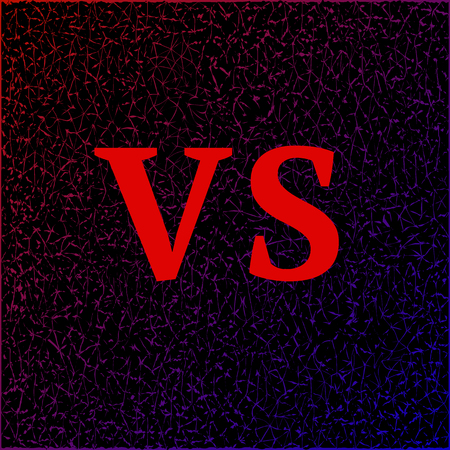 VS. Versus letters on the strong, cracked, dark background. Vector illustration Illustration