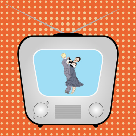 Retro-TV mit tanzendem Paar auf einem Retro-Comic-Hintergrund. Illustration