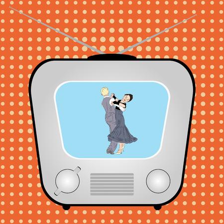 TV retrò con balli di coppia su uno sfondo di fumetti retrò. Illustrazione