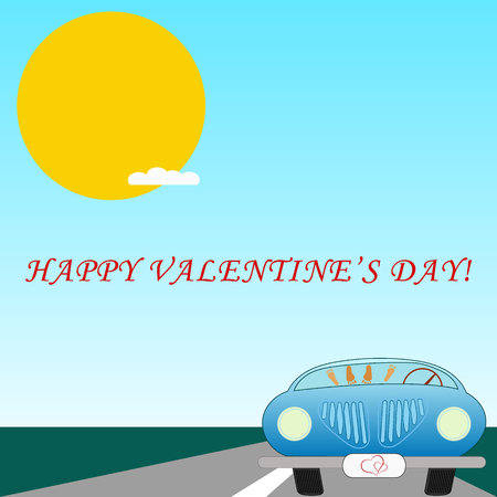 Vector illustration of the young couple love in parked car