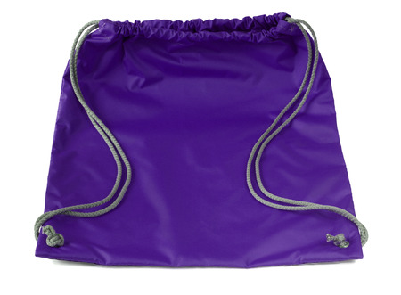 Sports string bag with drawstring on a white background. Ultra violet color Stock Photo