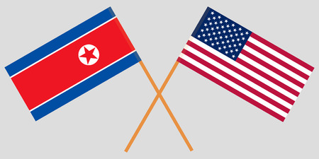 Flags North Korea and USA on gray background. Vector illustration