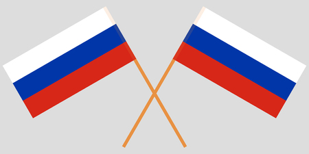 Two Russian crossed flags. Vector illustration