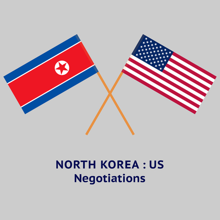 North Korea and United States flags crossed. Negotiations Illustration