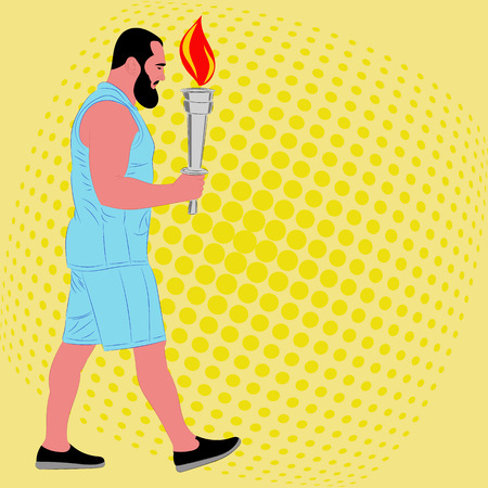 Man athlete with the burning sport torch. Vector illustration Illustration