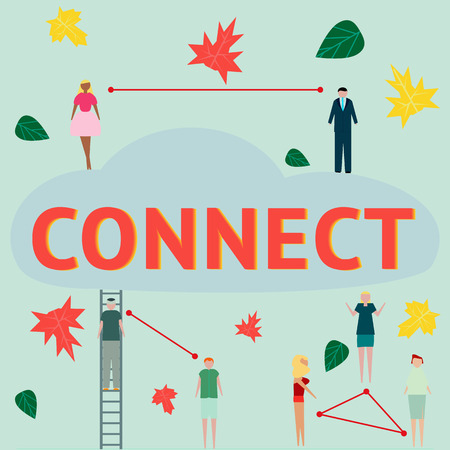Concept connecting. The businessmens and other peoples who is discussing news in the chats and social networks. Vector illustration