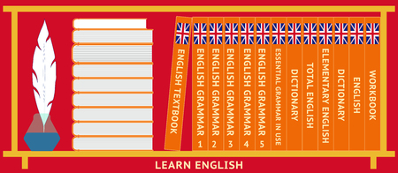 Learn English. Shelf with English textbooks. Dictionary, english grammar. Vector illustration