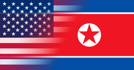 Flags North Korea and USA in gradient superimposition. Vector illustration