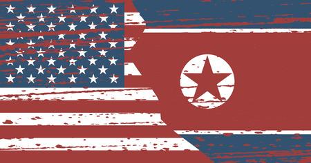 Grunge flags North Korea and USA in superimposition. Vector illustration Ilustração