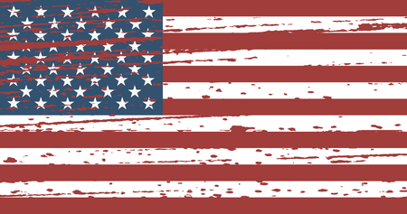 Grunge flag United States in superimposition. Vector illustration