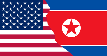 Flags North Korea and USA in superimposition. Vector illustration