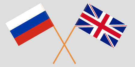 The crossed UK and Russia flags. Vector illustration Illustration