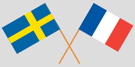 The crossed France and Sweden flags. Vector illustration
