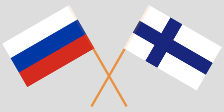 The crossed Russia and Finland flags. Vector illustration