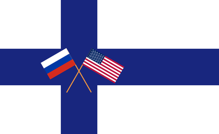 RU-US negotiation in Helsinki. Russian and USA flag on the flag of Finland. Vector illustration Ilustração