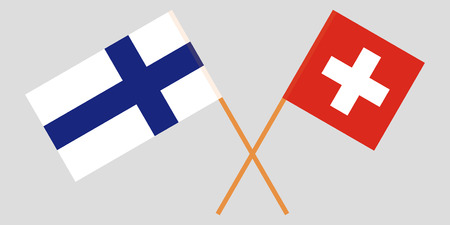 The crossed Finland and Switzerland flags. Official colors. Vector illustration Çizim
