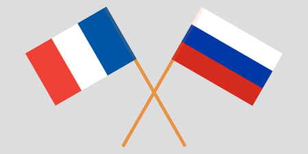 The crossed Russia and France flags. Vector illustration