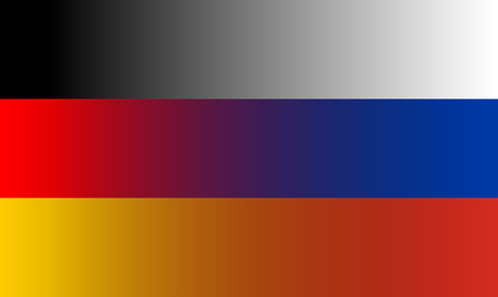 Federal Republic of Germany and Russia flags in gradient superimposition. Vector illustration