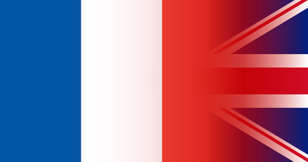 UK and France flags in gradient superimposition. Vector illustration Çizim