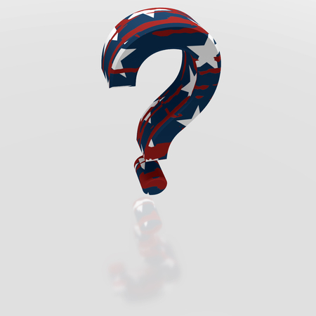The 3D illustration. The concept. Question mark, painted in the colors of the USA flag. It symbolizes unpredictable American policy