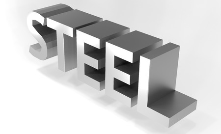 Three-dimensional word steel. Shadow, reflection. 3D illustration Stok Fotoğraf