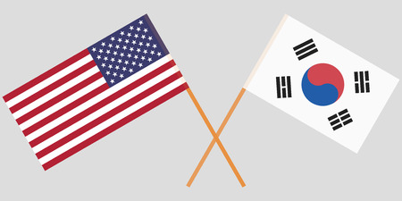 Crossed flags South Korea and USA. Official colors. Correct proportion. Vector illustration