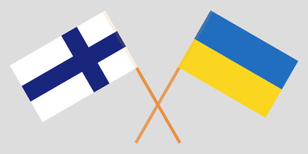 Crossed flags Ukraine and Finland. Official colors. Correct proportion. Vector illustration
