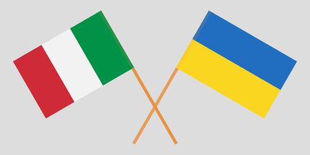 Crossed Ukraine and Italy flags. Official colors. Correct proportion. Vector illustration