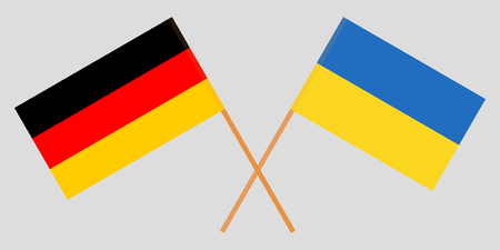 Crossed flags Ukraine and Germany. Official colors. Correct proportion. Vector illustration Çizim
