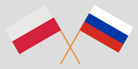 Poland and Russia. Crossed Polish and Russian flags. Official colors. Correct proportion. Vector illustration Illustration