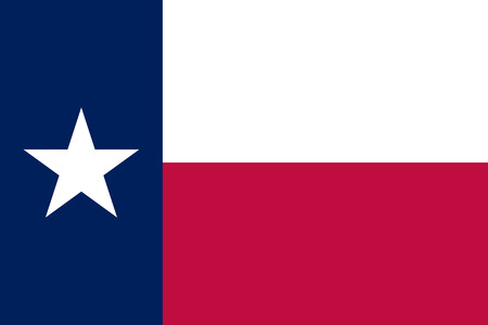 Flag of Texas State. Official colors: Dark Blue 281 Red 193 . Correct proportion. Vector illustration