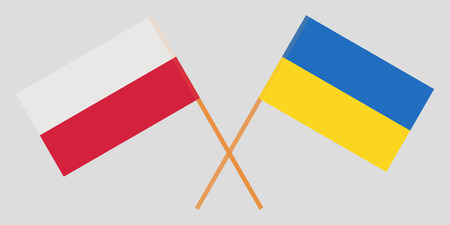 Crossed flags Poland and Ukraine. Official colors. Correct proportion. Vector illustration