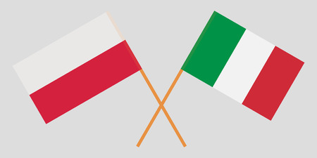 Poland and Italy. Crossed Polish and Italian flags. Official colors. Correct proportion. Vector illustration