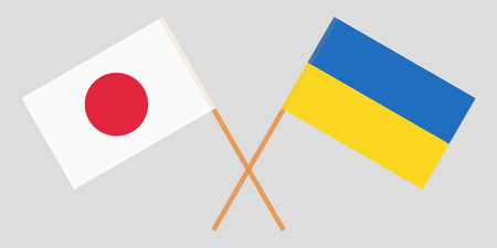 Crossed Ukraine and Japan flags. Official colors. Correct proportion. Vector illustration