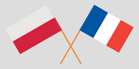 Poland and France. Crossed Polish and French flags. Official colors. Correct proportion. Vector illustration Ilustração